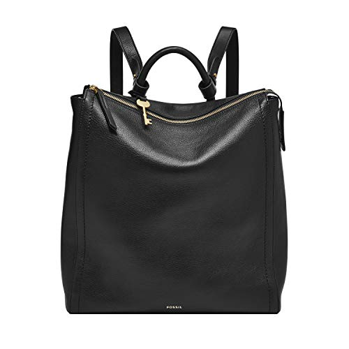 Fossil Women's Parker Leather Convertible Small Backpack Purse Handbag, Black