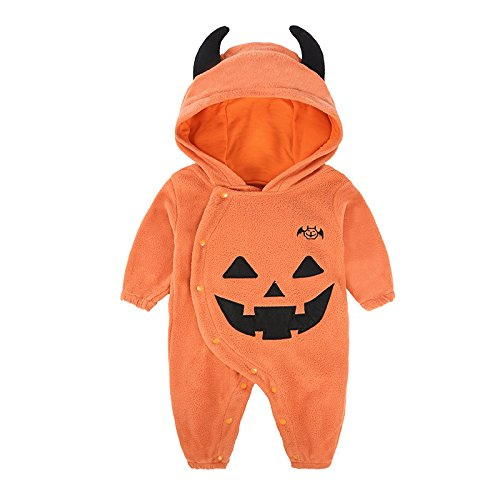 Liumintoy Bambino Neonato Pagliaccetto Halloween Party Costume Zucca Tutine Body Cosplay Vestiti per Bebè con Cappello,12to18Months