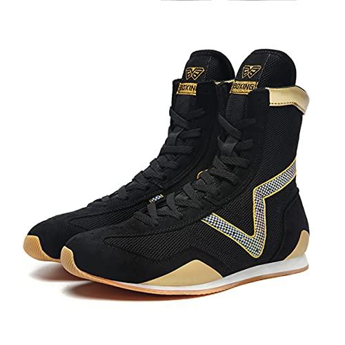 WJFGGXHK Zapatos de lucha de los hombres Zapatos de boxeo Top alto Transpirable Boxeadores Entrenadores Suela de goma Kickboxing Calzado, Black, 43.5 EU