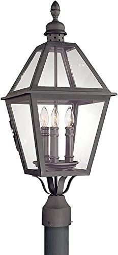 2021 Troy wholesale Lighting P9625NB Townsend - Three Light Outdoor Post online Lantern, Natural Bronze Finish with Clear Glass outlet sale