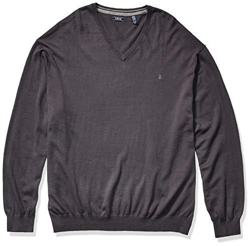 IZOD Men's Big & Tall Big Premium Essentials Solid V-Neck 12 Gauge Sweater, Asphalt, 3X-Large Tall