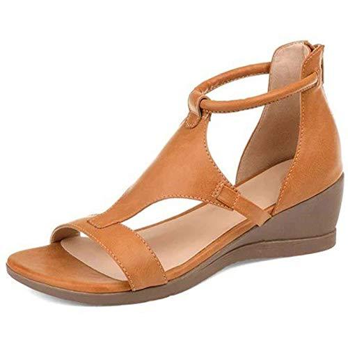 GBZLFH Sandalias de tacón de cuña para Mujer, Zapatos de Cuero de imitación con Punta Abierta Hueca a la Moda, Sandalias ortopédicas de Roma con Cremallera Trasera Transpirable de Verano
