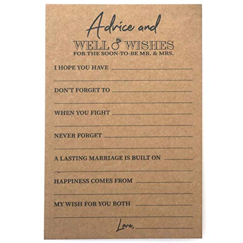 RXBC2011 Kraft Rustic Wedding advice and well wishes cards for the soon to be Mr and Mrs Bride and Groom Newlyweds Bridal Shower Games Note Marriage Advice Pack of 50