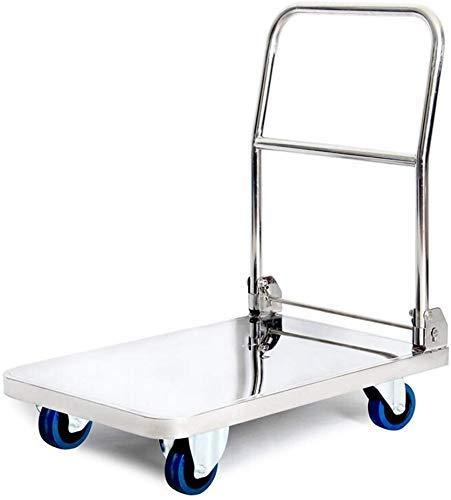 ViewSys Shopping Trolley, Plataforma de Acero Inoxidable Carro de Mano Carretilla Plegable de la Cesta de Altas Prestaciones de la Cama Plana Transporte, Plata Carro del Remolque,