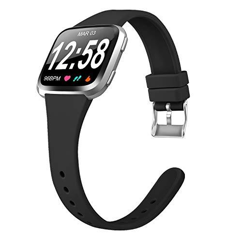 Amzpas Armband Für Fitbit Versa 2 Armband/Fitbit Versa Armband/Fitbit Versa Lite, Weiches Silikon Schmal Schlank Sport Ersatz Armband für Fitbit Versa/Fitbit Versa 2 (03 Schwarz, L)