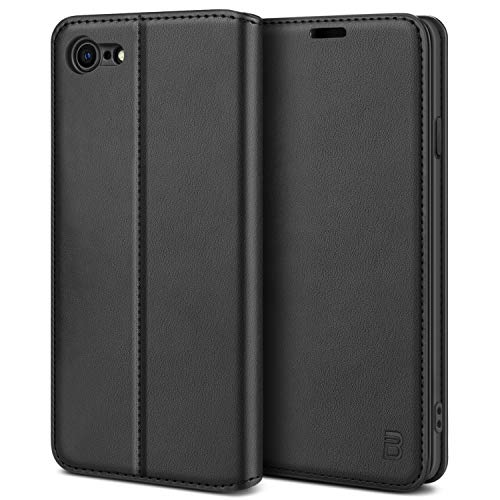 BEZ Handyhülle für iPhone SE 2020 Hülle, Premium Tasche Kompatibel für iPhone SE 2020 / iPhone 7/8, Tasche Hülle Schutzhüllen aus Klappetui mit Kreditkartenhaltern, Ständer, Magnetverschluss, Schwarz