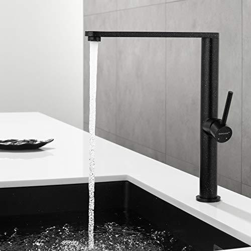 Faulkatze Grifo de cocina negro Mezclador de cocina giratorio de 360 ° y Grifo de cocina de una sola palanca ajustable en frío y caliente de acero inoxidable
