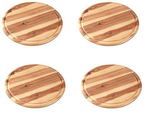 FACKELMANN Vesperbrett AKAZIE, Küchenbrett aus Natur-Holz mit Saftrille, Frühstücksbrettchen (Farbe: Braun) 4 Stück Fleischteller