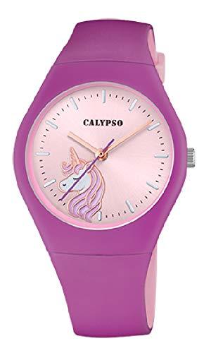 CALYPSO Reloj Modelo K5792/5 de la colección Sweet Time, Caja de 39 mm Correa de Caucho Lila para señora