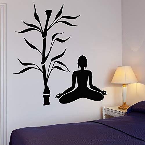 Adesivi da Parete Adesivi Murali Buddha Tree Yoga Buddismo Meditazione per Yoga Studio Relax Zen Wall Art murale 76x88cm