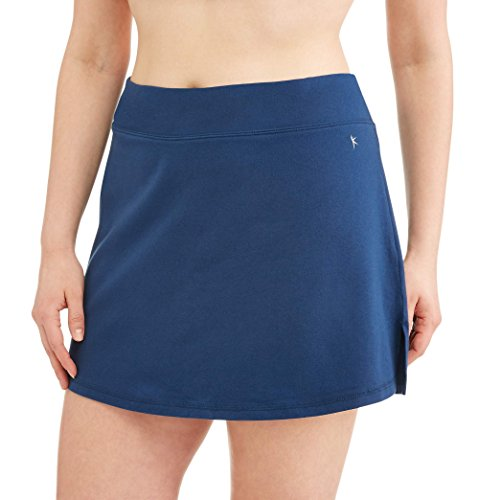 Danskin Now Women's Plus Size Activewear Athletic Cotton Blend Skort/Skirt with Built in Shorts (Indigo Blue, 4X (26W-28W))