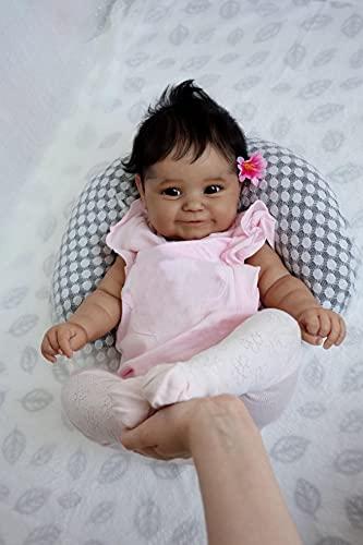 Pinky Reborn 20 Pouces 50cm Maddie Reborn Bébé Fille Poupées Corps Souple Peau Noire...