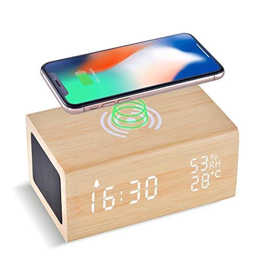 Despertador Digital con Carga Inalámbrica de 10 W y Altavoz Bluetooth, LAOPAO 3 Configuraciones de Alarma, Control de Sonido, Detección de Humedad y Temperatura, para Dormitorio, Salón y Niños