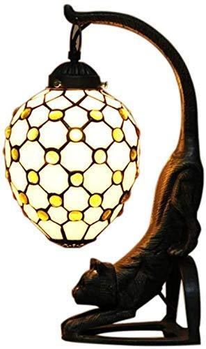 Retro kat tafellamp, glas in lood tafellamp hars basis, handgemaakte bureaulamp voor woonkamer slaapkamer bureaulamp
