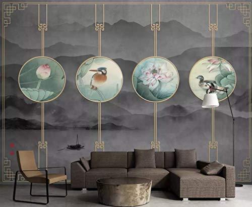 HONGYUANZHANG Goldene Runde Flora Und Fauna Custom 3D Photo Wallpaper Künstlerische Landschaft Tv Hintergrundbild,140Inch (H) X 172Inch (W)