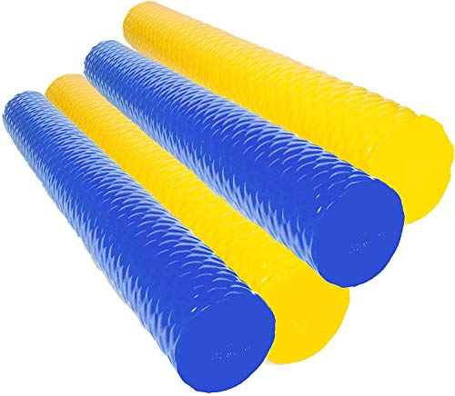 Lazy Floats VOS Foam Pool Noodle Big Round Premium Outdoor Water Float (Blue,Yellow 4-pack)