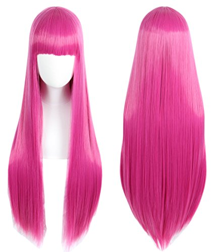 Linfairy Anime Hot Pink long Princess Wig Halloween Costume Cosplay Wig for Women 85CM