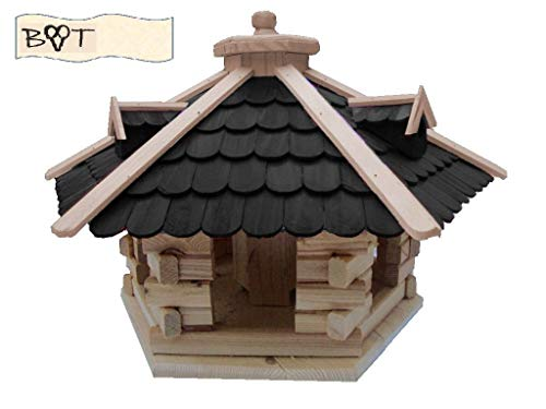 Vogelhaus, XXL Vogelvilla Vöglehus Vogelhäuser Großes Vogelhaus, aus Holz Vogelvillas schwarz anthrazit SG50atMS mit Ständer - 2
