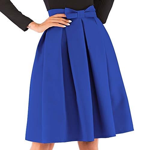 kefirlily Mujer Midi Falda Plisada Cintura Alta Vintage Falda A-Line Elegante Color Sólido con Lazo Rosa M