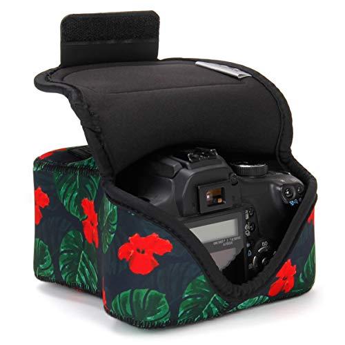 USA Gear Funda Cámara Reflex DSLR con Protección de Neopreno, Presilla para Cinturón y Almacenamiento de Accesorios - Compatible con Nikon D3400, Canon EOS Rebel SL2, Pentax K-70 y más - Tropical