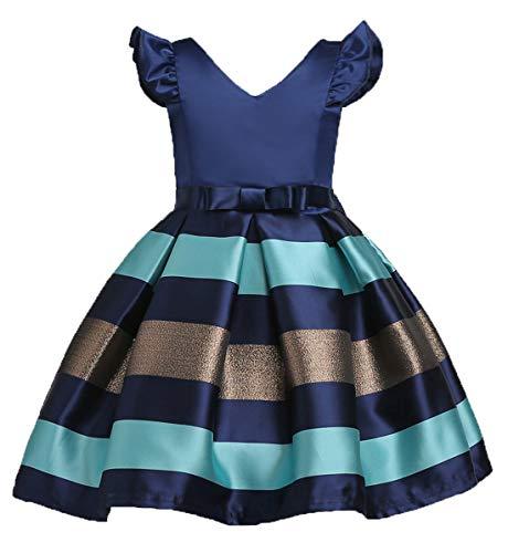 LLQKJOH Vestido para niña con Volantes de Encaje para Fiesta, Boda, Dama de Honor, Azul Marino, 11-12 Años