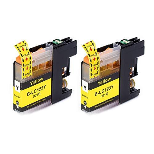 Tinta de Impresora 12PK para Brother LC123 Cartridge es Adecuado para MFC-J4510DW MFC-J4610DW Cartucho de Impresora LC121 MFC-J4410DW MFC-J4710DW Productos de Oficina (Color : 2 pcs Yellow)