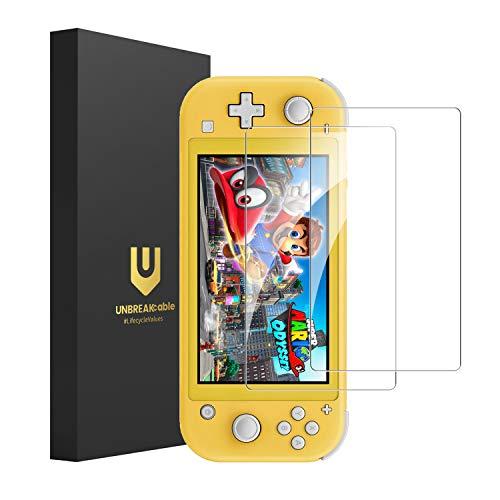 UNBREAKcable Panzerglas Schutzfolie für Nintendo Switch Lite 2019 (2er Pack) - 9H Härte, 0,33mm Dicke, Transparent HD, komplette Abdeckung und blasenfrei, Panzerglasfolie, Bildschirmschutz