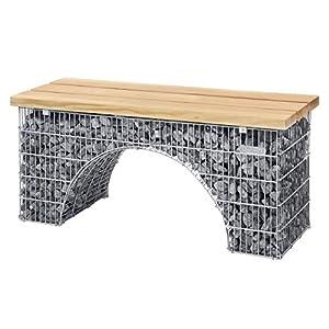 bellissa Sitzbank Bogengabione ARCO mit Sitzfläche aus Douglasien-Holz - 97133 - Romantische Gabionenbank- Gartenbank…