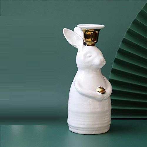 YHNBG Sculpture Ornaments Statues Sculptures Rabbit Candlestick Home Desktop Craft Bear Candle Holder Sculpture Decor Romantic Furnishing Articles Couple Gift-Rabbit_Candlestick_21.6Cm