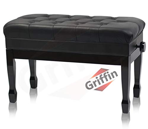 Find Cheap Genuine Leather Piano Bench by Griffin - Height Adjustable Oversize Duet Black Solid Wood...