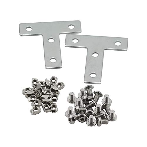 PZRT Aluminum Profile Connector Bracket Set,2Pcs T Shape Connector, 8Pcs M5 T-Slot Nuts, 8Pcs M5x8mm Hex Socket Cap Screw Bolt,for 6mm Slot 2020 Series Aluminum Profile