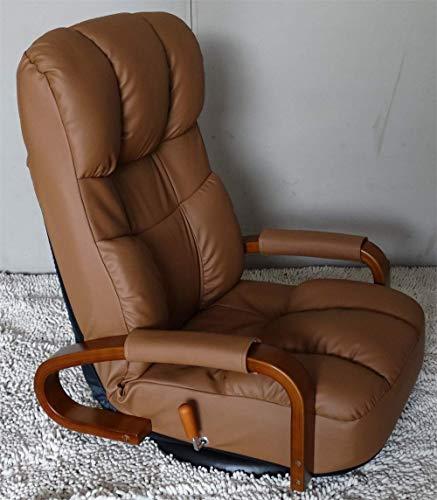 YIQIFEI Drehbarer Ledersessel mit Lederboden 360-Grad-Drehung Japanische Wohnzimmermöbel Armchair Chaise Lounge, Braun