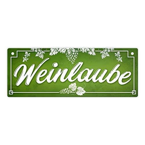 trendaffe - Wein Metallschild mit Weinreben Motiv und Spruch: Weinlaube - Winzer Traube