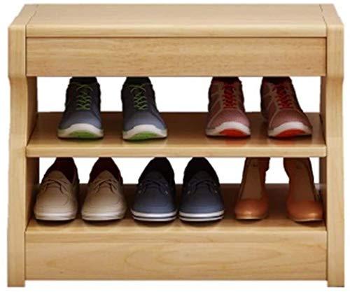 Zapato de Almacenamiento en Rack de Zapato de Madera Armario con 2 estantes de Almacenamiento y 1 Unidad gaveta de Almacenamiento de Calzado Banco Pasillo Armario Organizador