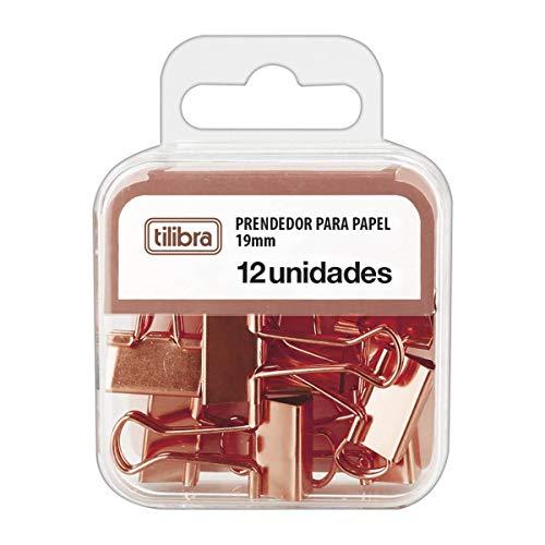 Prendedor de Papel 19mm Ouro Rose 12 Unidades, Tilibra
