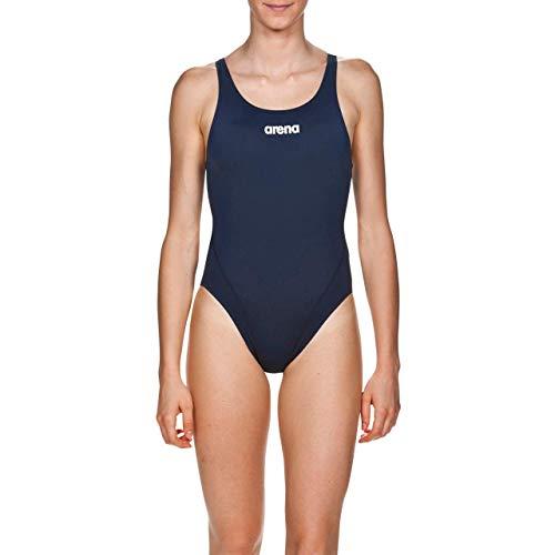 Arena W Solid Swim Tech High, Costume Sportivo Donna, Blu (Navy/White), 42 IT