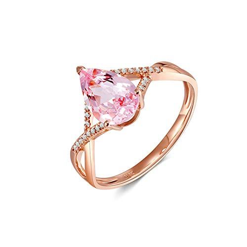 Daesar Damen 18K Rotgold Ringe Verlobung Brillant Rosa Morganit 1.15ct Hochzeitsring Rosegold Eheringe mit Diamant Echt Große 56 (17.8)
