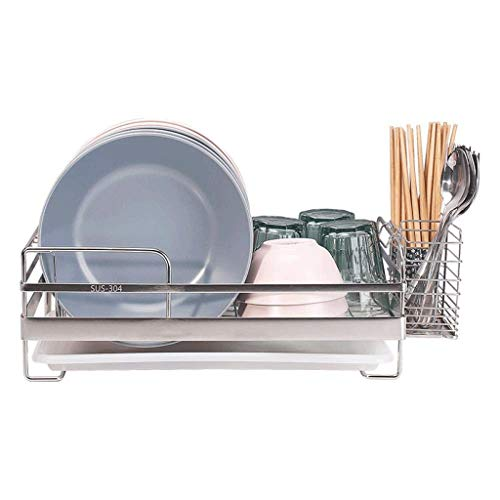 SHYPT Stylish Sturdy Stainless Steel Metal Wire Dish Drainer Drying Rack with Drain Board (Size : M)
