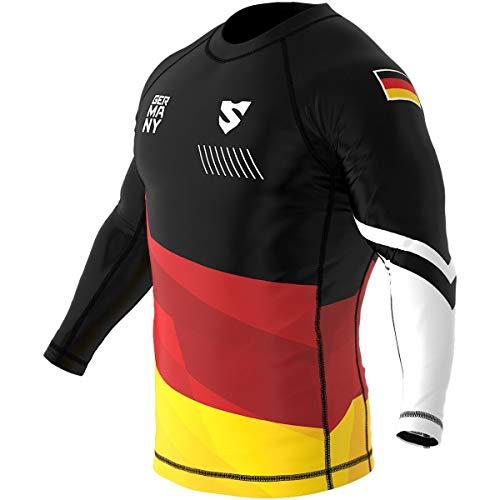 SMMASH Germany 3.0 Herren Rashguard-Shirt, Sport Longsleeve, Sportoberteile für Fitness, Crossfit, MMA, Krav MAGA, Langarm Funktionsshirt Männer, Slim Fit Sportshirt (L)