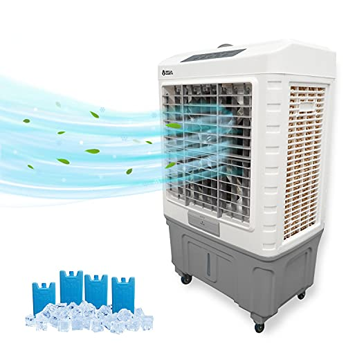 Portable Outdoor AC- Evaporative Air Cooler, Portable Air Conditioner, Filter with Touch Controls, Large Quiet Electric 5300 Cubic Feet per Minute, , 13.2 Gallon Water Tank and 360° Wheels, Cools 1850.00 Square Feet for commercial Office Home