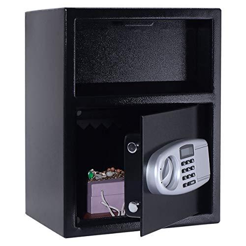 COSTWAY Tresor mit Einwurfschlitz, Sicherheitssafe elektronisch inkl. 2 Schlüssel, Einwurftresor für Büros und Hotels oder Zuhause 34x30x45cm