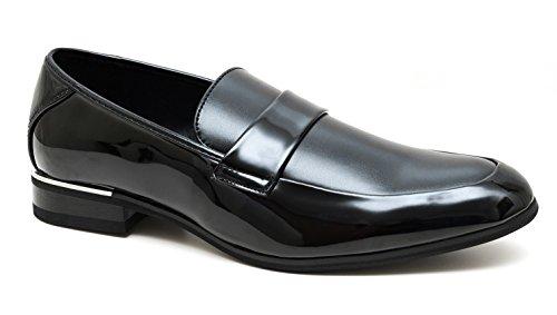 Evoga Mocassini uomo class nero eleganti Oxford scarpe man's shoes cerimonia (44, Nero)