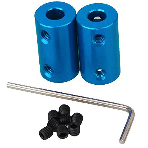 IBEUTES Blue 6mm to 6mm Aluminum Shaft Coupling Rigid Coupling Coupler Motor Connector with Spanner Pack 2PCS