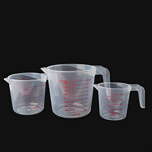 Liquid Measuring Cup, Premium Plastic Measuring Cup, 3 Pcs Measuring Cups Set Include 1 Cup, 2 Cup and 4 Cup Capacity with Ml and Oz Measurement, BPA-free Stackable Clear Heat-resistant, Easy to Use