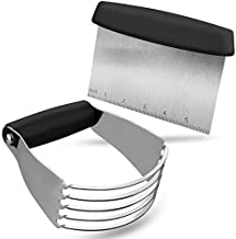 Pastry Cutter Set, EAGMAK Pastry Blender and Dough Scraper, Professional Stainless Steel Dough Cutter/Blender Scraper Set for Kitchen Baking Tools (Black)