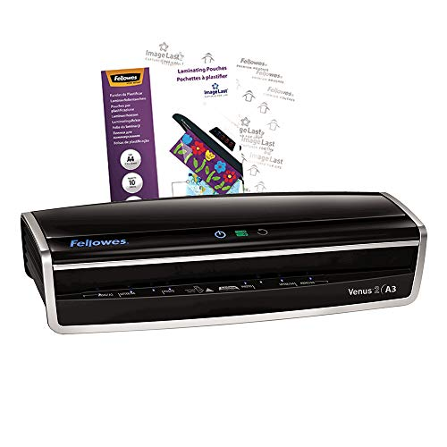 Fellowes Venus 2 A3 Large Office Laminator, 80-250 Micron, Rapid 30-60 Second Warm Up Time, Including 10 Free Pouches