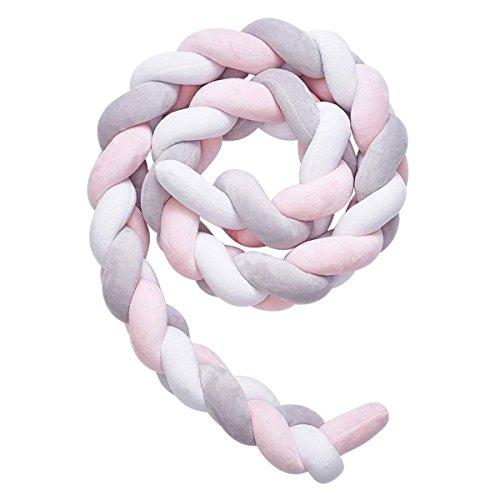 """Geflecht Kissen, Babybett Stoßstange Kissen Plüsch Knoten Kissen Baby Zimmer Dekoration 78,7"""" (Color : White+Gray+Pink)"""