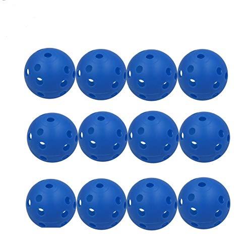FINGER TEN Golf Übungsbälle Trainingsbälle Luftbälle 12 Stück Air Flow Golfbälle Trainings Heimgebrauch Im Freien Garten Weiß Orange Gelb Blau Für Damen Herren Kinder (Blau, 12 Stück)