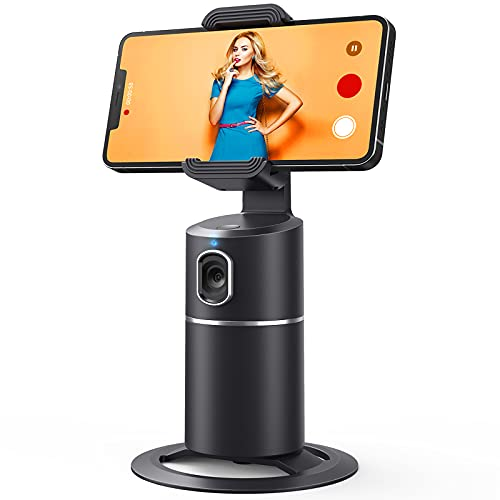 Auto Face Tracking Tripod, No App Required, 360° Rotation Face Body Phone Camera Mount Smart Shooting Phone Tracking Holder for Live Vlog Streaming Video, Rechargeable Battery-Black