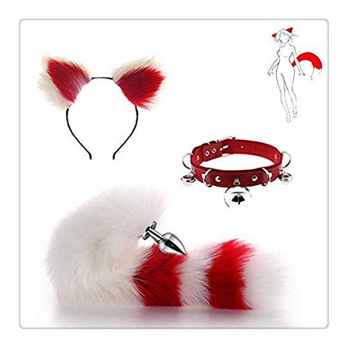 Z-one 1 Classic Cat Felpa Disfraz de oreja de oreja de disfraz para adulto y cola de zorro met¨¢lico con lindo mo?o de gatito de campana (blanco y rojo)
